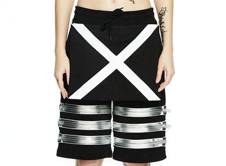INXX字母印花银色装饰短裤男女通款