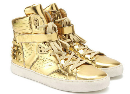 ASH限量款金银铆钉装饰高帮平底鞋