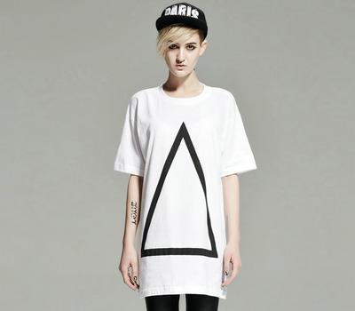 LONG CLOTHING几何图案朋克T恤 男女通款