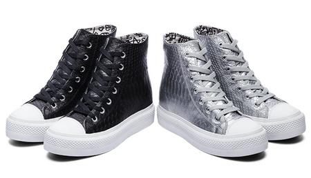 美国潮IIJIN艾今鳄鱼纹隐形增高高帮鞋