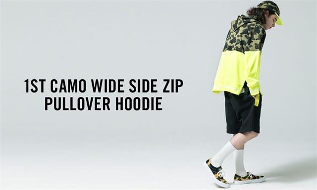 日本潮牌 Bape 公布新款 1ST CAMO Wide Side Zip Pillover Hoodie,本周六开售