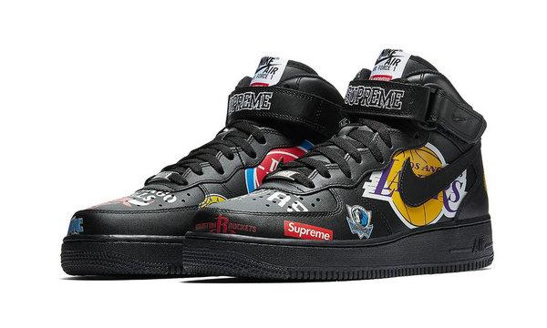 Supreme x Nike x NBA 三方联名Air Force 1 Mid鞋款官图发布,黑白两色同释出!