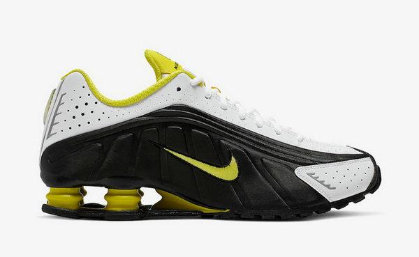 "Shox R4 鞋款全新""Dynamic Yellow""配色释出,亮黄色点缀~"