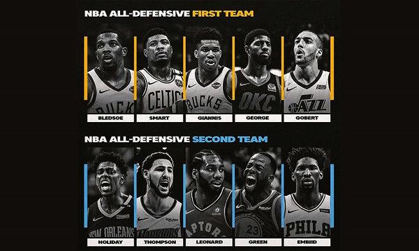NBA 官方 2019 最佳防守阵容揭晓,字母哥毫无争议领衔