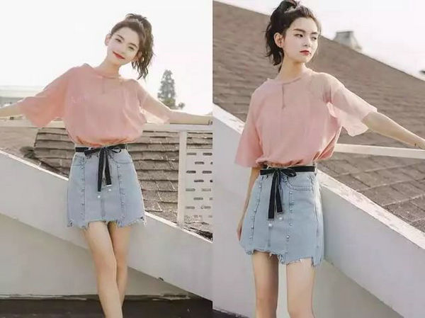 网纱粉色T恤+牛仔短裙.jpg