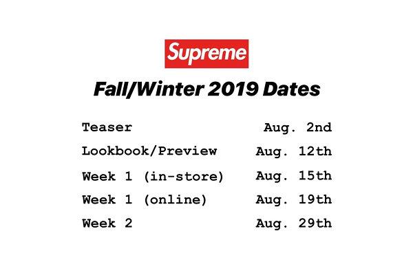 Supreme 2019 秋冬系列预告、Lookbook 及上架日程表出炉