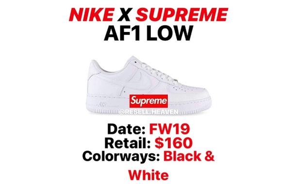 NIKE x Supreme 全新联乘 AIR FORCE 1 鞋款曝光,黑白配色主打