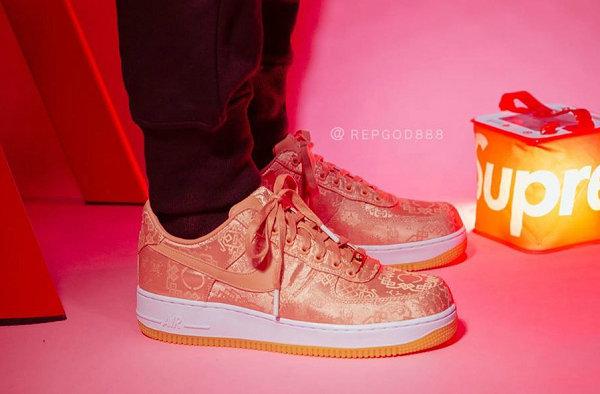 CLOT x 耐克联名 AF1 粉丝绸鞋款实物及上脚美图来袭