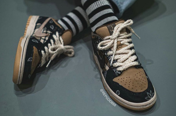 Travis Scott x 耐克联名 Dunk SB Low 鞋款上脚美图赏析
