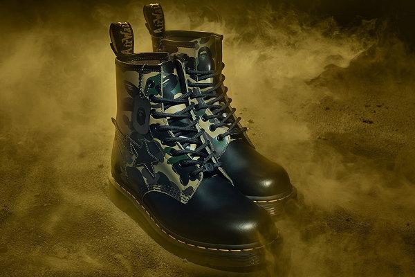 BAPE x 马丁博士联名 1460 鞋款即将登场,星形标志吸睛