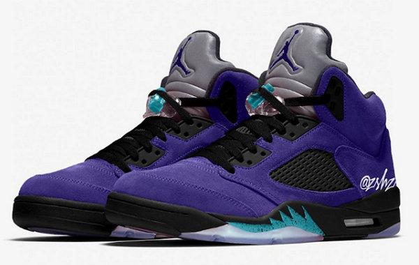 Air Jordan 5 全新紫葡萄配色鞋款实物曝光,麂皮打造