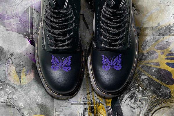 日潮 Needles x 马丁博士联名 1460 鞋款即将登场,蝴蝶元素
