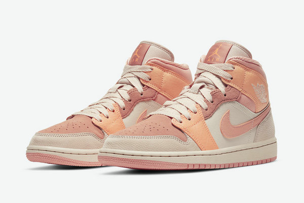 粉橙拼接 Air Jordan 1 Mid 鞋款释出,配色温柔讨喜
